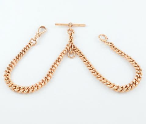 Antique Heavy 9Ct Rose Gold Graduated Double Albert Watch Chain 15''
